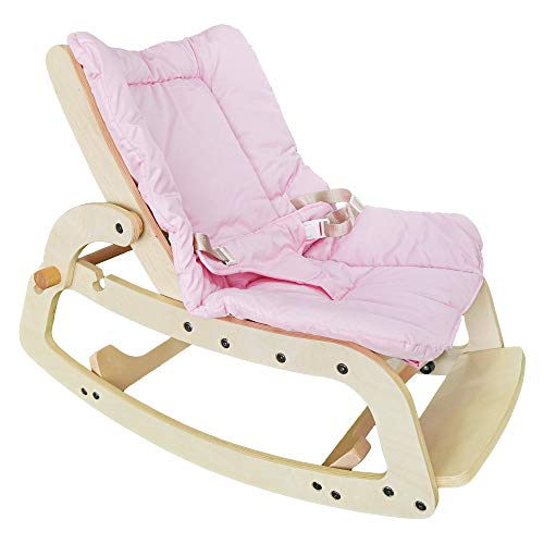 Infant to Toddler Rocker, Adjustable Infant Bouncer Seat with Removable Cushion and Seat Belt, 3 in1 Kids Recliner Chair, Wooden Rocking Chair for Boys and Girls ,Gift for Kids(Pink)
