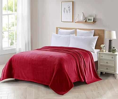 Forentex deken voor bed en bank, flanel, 300 g/m2, pluisvrij, zacht, warm, verschillende maten en kleuren XL-3093, rood, 270 x 230 cm