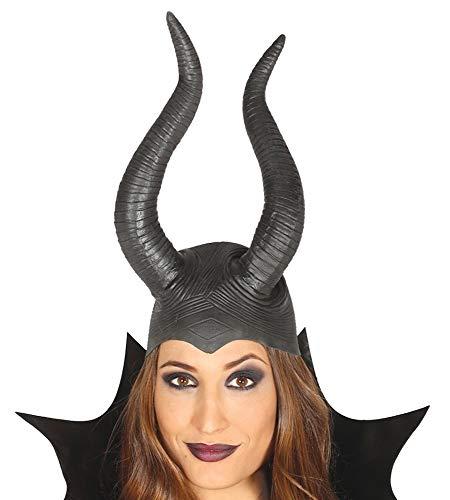 shoperama Gorro maléfico de látex negro de alta calidad con cuernos para Halloween, accesorio de disfraz de cuento de hadas para mujer