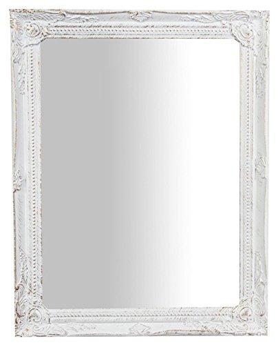 Biscottini Specchio, Specchiera rettangolare da parete, da appendere al muro orizzontale verticale, Shabby chic, trucco, bagno, cornice finitura colore bianco anticato, L36,5xPR3xH47 cm. Stile shabby chic.