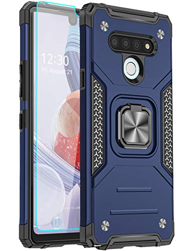 LEEGU Case for LG Stylo 6, Military Grade Heavy Duty Armor Protection Phone Case 15ft. Drop Tested Cover with Magnetic Ring Kickstand and HD Screen Protector for LG Stylo 6, Blue