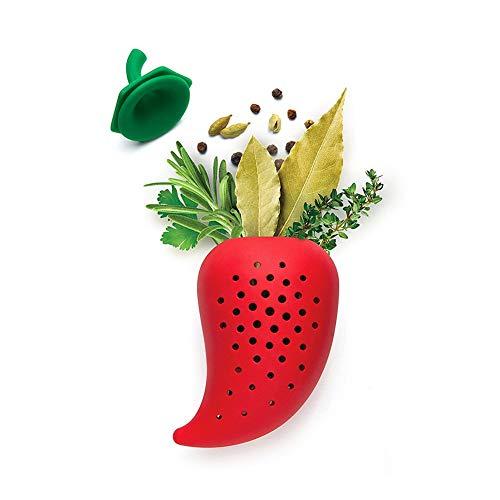 Willlly theezeef voor specerijen, casual, chic, vorm van silicone, voor soepen, zakjes voor het maken van peper, cocktail, rood # x 1