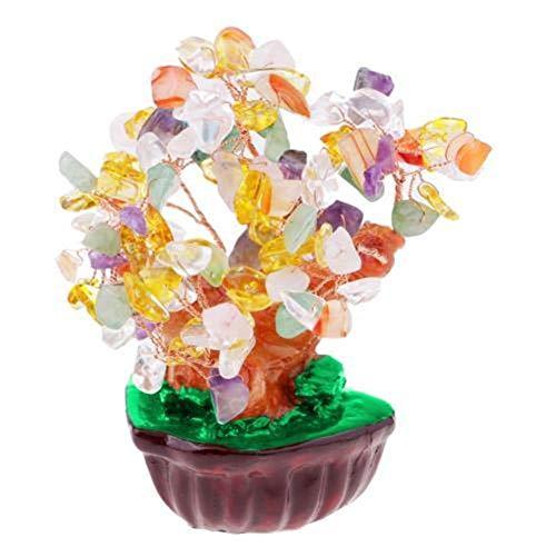 Árbol del dinero bonsai feng shui Feng Shui Bonsai de imitación de cristal Planta de la buena suerte habitación decoración de la oficina Riqueza Suerte Feng Shui Lucky árbol del dinero regalos de Año