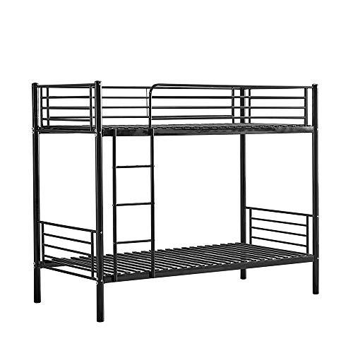 Huisen Furniture Metal Single Bunk Bed High Sleeper Cot Frame 3FT with Ladder Bedroom Steel Bedstead Bunk Bed Frame Twin Size for Kids Teens Adult Dormitory (Black)