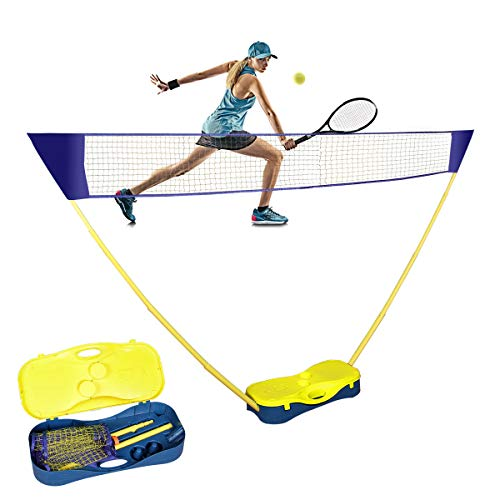 Badminton Netz 3m mit Teleskopständer und Aufbewahrungs Basis, Tragbares Pop Up Volleyball Tennis Netz, Einfache Einrichtung Keine Werkzeuge Erforderlich, Ideal für Indoor Outdoor Garden Hinterhof