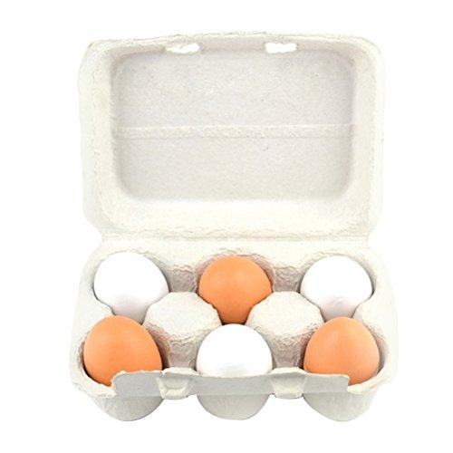 TOYMYTOY 6 unids Huevos de Madera de Pascua en Cartón Juguete de Imitación Juguete de cocina y Alimentos Preescolar para Niños