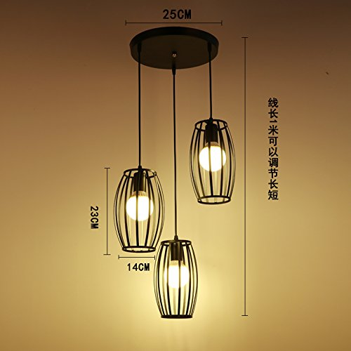 Luckyfree creatief modern modieus hanger lampen plafondlamp kroonluchter slaapkamer woonkamer keuken, champagne kleur 3-disc zwart taille drum