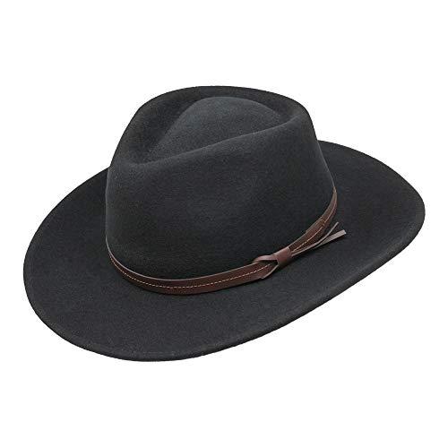 Borges & Scott Hardy - Leichter Fedora Hut mit breiter Krempe und Lederband - 100% Wollfilz - Für die Reise knautschbar - Wasserabweisend - 58cm Schwarz