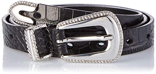 Guess Blenda Leather Belt Cintura, Nero (Black Croco PZ90), 100 (Taglia produttore:L) Donna