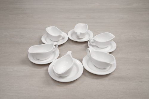 Fortessa Fortaluxe Vitrified China Dinnerware, Non-Stackable Sauce Boat, 3-Ounce, Set of 6