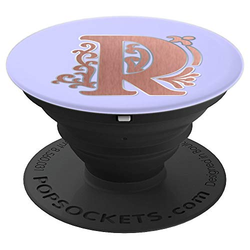 Periwinkle Purple Rose Blush Initial Monogram Letter R PopSockets Grip and Stand for Phones and Tablets