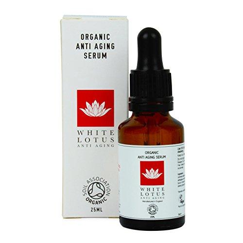 White Lotus ORGANISCHES ANTI-AGING SERUM 25 ml | Nicht fettig reich an Antioxidantien + Vitamin C | Von Verjüngungs-Experten speziell für den Einsatz mit Derma-Roller konzipiert