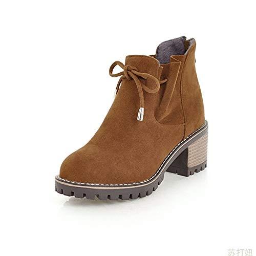 Shukun Enkellaarzen Literaire Retro Mori Women'S Tie Met Strikken Frosted Hoge hak Platform Laarzen Martin Laarzen Women'S Boots