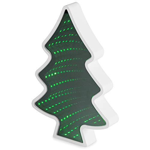 LED Magic Infinity Tunnel Mirror: Christmas Tree Sensory Desk Lights for Kids, Office, Home Decor