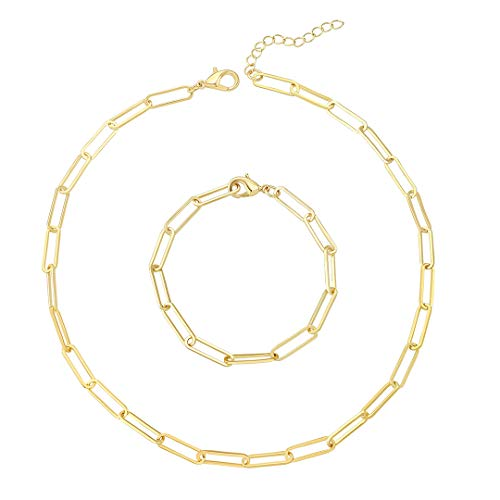 Reoxvo Gold Chain Necklace and Bracelet Set Gold Paperclip Link Chain Necklaces for Women