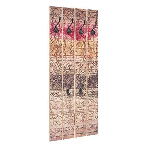 Bilderwelten Perchero de Madera Paul Klee   Jungwald Panel, Ganchos Negros 100x40 cm