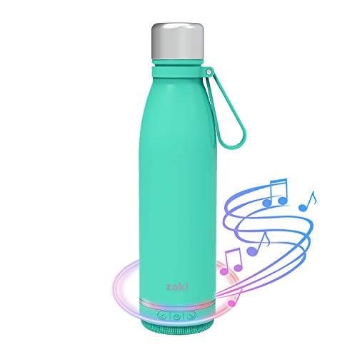 Zak Designs Zak! Play Bluetooth Smart Stainless Steel Water Bottle Wireless Speaker, Reusable Stainless Steel Double-Wall Vacuum Insulation with Rechargeable Battery