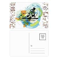 スポーツ選手のフリースタイルスキーの水彩画 公式ポストカードセットサンクスカード郵送側20個