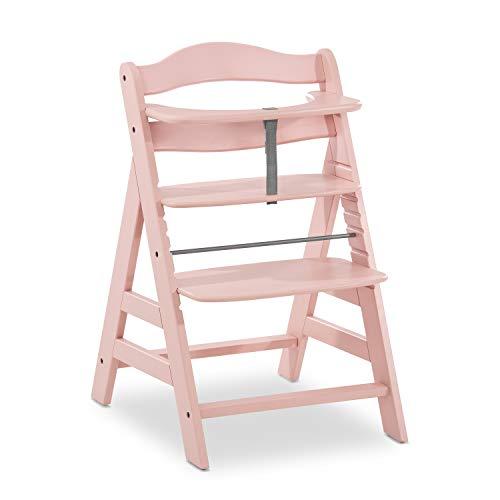 Hauck Holz Hochstuhl Alpha + für Kinder ab 6 Monaten bis 90 kg belastbar / verstellbar / mitwachsend / für Babys ab Geburt nutzbar in Kombination mit Alpha Bouncer Newborn Set / rosa