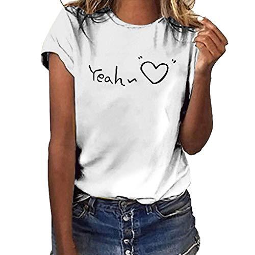 Damen Tshirt Kurzarm Oberteile Sommer Drucken Tee Tops Casual Basic Shirts Mode Rundhals Teenager Mädchen Frauen Hemd Bluse Tunic Tunika Fitness Sport Tops