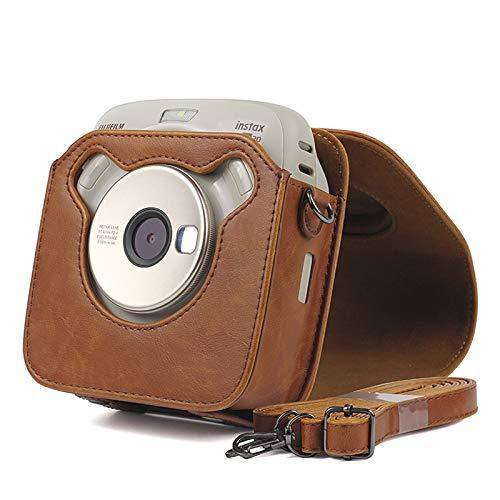 Per FUJIFILM Instax SQUARE SQ20 fotocamera PU Custodia in pelle PU Vintage tracolla sacchetto fotocamera Carry Cover Custodia protettiva(marrone)