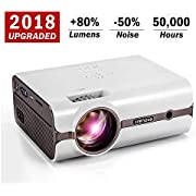 Crenova XPE496 2018 Upgraded Projector - (+80% Brightness) Home Projector - Portable Video Projector - Compatible with PC/Mac/TV/DVD/iPhone/iPad/USB/SD/AV/HDMI for Home Theater/Outdoor/Video Games