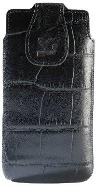 Suncase - Custodia in pelle per Sony Xperia P, Nero con trama a coccodrillo