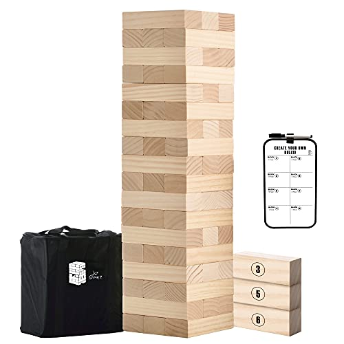 Large Tower Wooden Stacking Outdoor Games for Adults and Family Yard Lawn Blocks Games - Includes Rules and Carrying Bag-54 Pcs Premium Wood