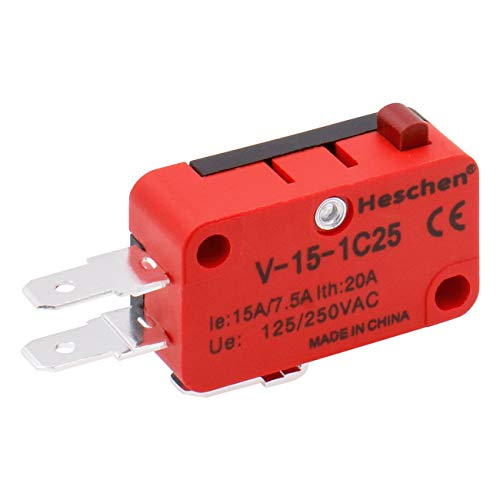 Heschen Micro Switch V-15-1C25 SPDT Botón tipo 20A 250VAC 2 Pack