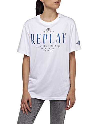 Replay Damen W3315A.000.20994 T-Shirt, Weiß (Optical White 1), XX-Small (Herstellergröße: XXS)