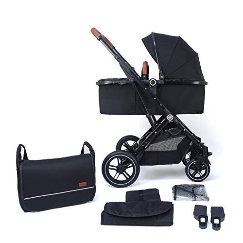 Pixini Cochecito 3 en 1 (Lania 2 en 1, muy compacto, plegable, incluye capazo y silla de paseo, marco de aluminio, bolso cambiador/protector de lluvia en color negro)