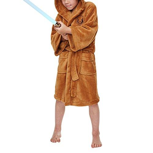 Childrens Boys Star Wars Jedi Robe Soft Fleece Dressing Gown Bathrobe Brown