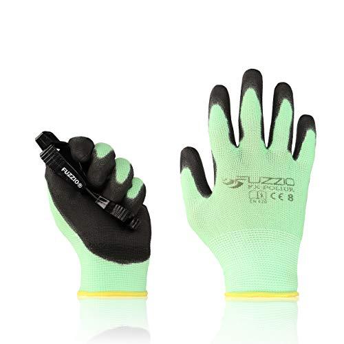 FUZZIO Arbeitshandschuhe 20 Paar PU Beschichtung Bauhandschuhe Montage mit Handschuh-Klammern(M|8, Grün)