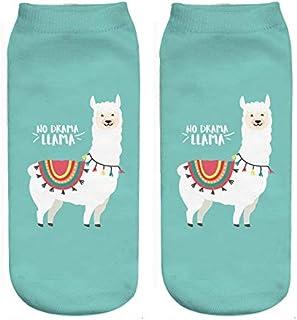 Calcetines 5 Pares de nuevos Dibujos Animados Lindo Cactus Alpaca 3D impresión Digital Calcetines de Mujeres y niñas Calcetines 20 cm de algodón cómodos Calcetines Casuales Azul