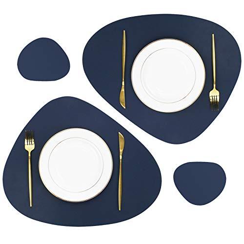 Olrla Lot de 4 Sets de Table et Dessous de Verre ovales en Cuir PU, 38 x 45 cm Lavables Antidérapants Lavables pour Salle à Manger (Bleu foncé 2 Sets de Table +2 Dessous de Verre)