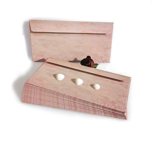Garsihome edle Briefumschläge Vintage zum Hochzeitseinladungen selber basteln, Briefpapier für Mädchen, Liebesbrief, Kirchenheft Hochzeit oder Einladungen (50 Briefumschläge, floral)