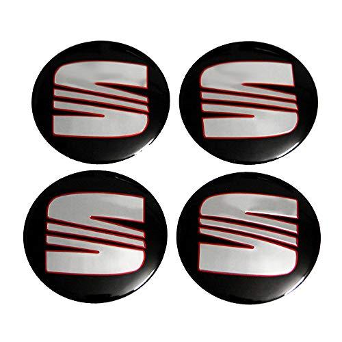 4 fundas para el centro de la rueda de 56 mm, pegatinas para asiento Cupra Arona Ibiza Alhambra Toledo León FR Altea Cordoba emblema del cinturón ABS (nombre del color: negro rojo)