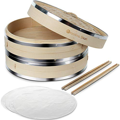 Oma haai 25cm bamboe stoomboot met roestvrijstalen verstevigingsband voor koken dumplings, groenten, rijst of vlees, geleverd met 50 Stoombaden