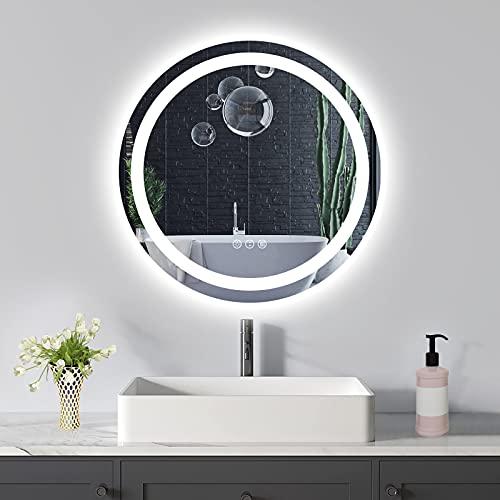 Amorho 60cm Redondo Espejo Baño Espejo de Pared Espejo Colgante Dormitorio Función Antivaho con Luz LED Interruptor Táctil 14 Temperatura de Color Ajustable