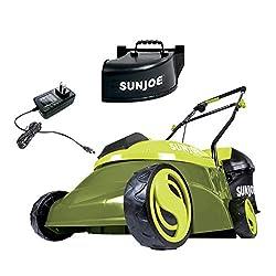 top 10 cordless lawn mowers Sun Joe MJ401C-XR 14inch 28 V 5 Ah Cordless Brushless Lawn Mower Green