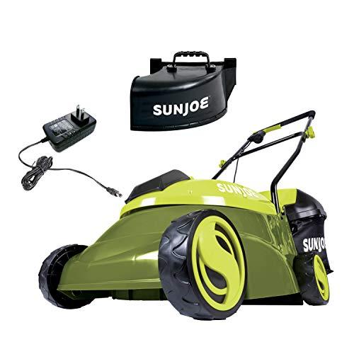 Sun Joe MJ401C-XR 14-Inch 28-Volt 5-Amp Cordless Lawn Mower w/Brushless Motor, 10.6-Gallon Detachable Collection Bag, Lightweight, Green