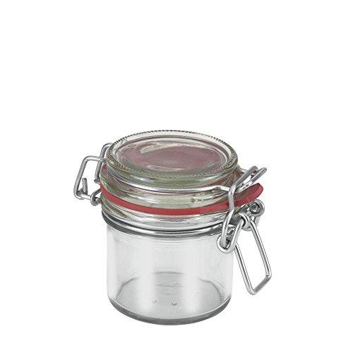 Metaltex Drahtbügelglas, aus Glas, mit Gummiring, 125 ml Fassungsvermögen