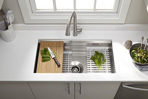KOHLER Prolific 33 inch Workstation Stainless Steel Single Bowl Kitchen Sink with Included Accessories, 11 Inches Deep, 18 gauge, Undermount installation K-5540-NA