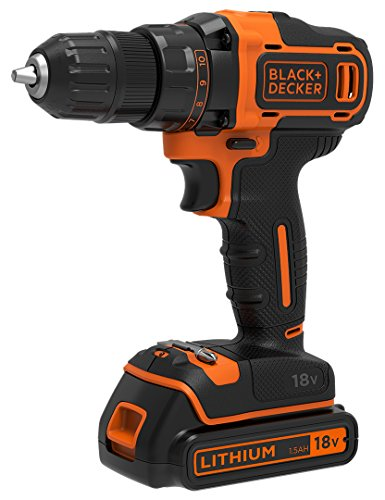 Black & Decker BDCDD186-QW 18 Volt Cordless Drill/Screwdriver with Charger/1.5 Ah Battery