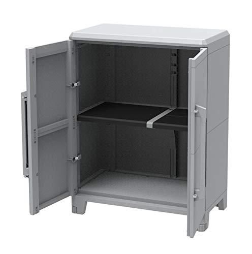 Kreher Gartenschrank aus Kunststoff. Mit modularen Böden, abschließbaren Türen und Metallscharnieren. IP43 geprüft in 3 verschiedenen Größen. (M)