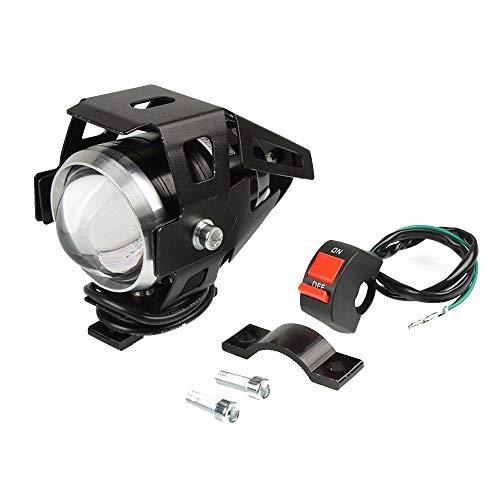 IIWOJ Motorrad LED Zusatzscheinwerfer Mit Zusatzlampe U5 Motorrad Scheinwerfer Zubehör 12V Moto DRL Scheinwerfer Universal 1/2 PCS 125W,1pcs