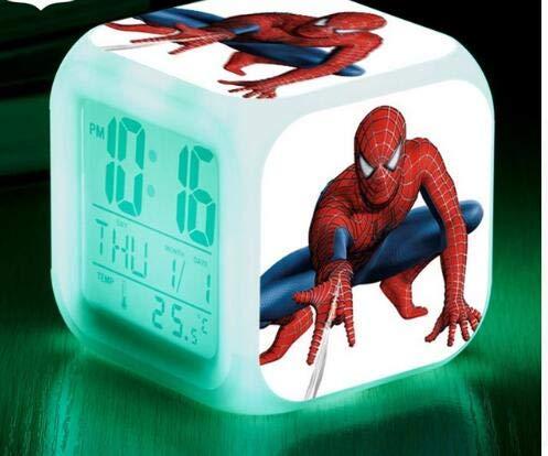 Spider Man 7 Colors Changing Digital Clock Spiderman LED Alarm Clock Lovely Cartoon Night Light Alarm Clock for Kids,Style 25,Birthday Gifts
