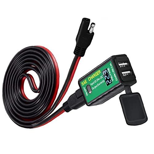SAE a Kit De Carga USB Motorcycle Dual USB Cargador 4.8a SAE a Adaptador USB con Interruptor De Encendido/Apagado