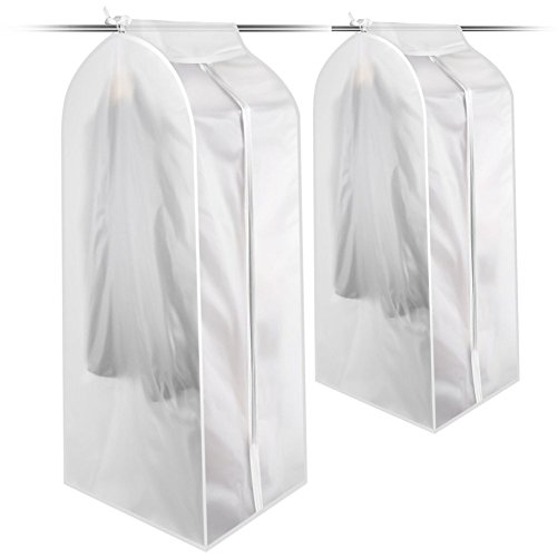 KONKY Garment Clothes Cover Protector, Closet Storage Bags Translucent Dustproof Waterproof Hanging Clothing Storage Bag with Full Zipper & Magic Tape & Strap for Coat Dress Windcoat-Small