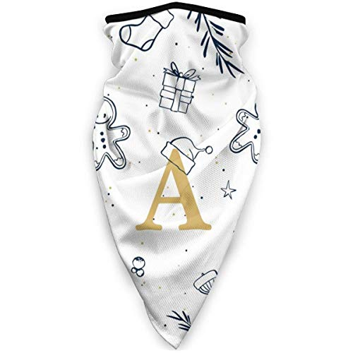 Not Applicable Neck Scarf,Xmas Letter A Initial Monogram Head Scarf Beautiful for Hunting Half Face Scarf 24x52cm